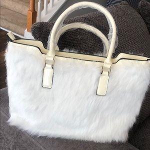 Handbags - White Fur Handbag